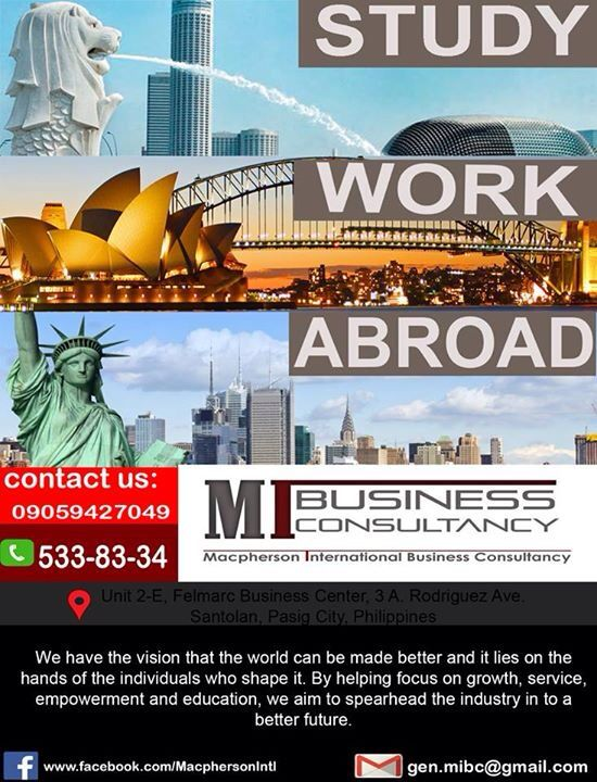 Study! Career pathway program! MIBC offers a Great opportunity for guiding filipino student to have a foot in the door in a first world country like Singapore! Join there FREE Consultation Program! Contact the info and dont miss this Big OPPORTUNITY!!