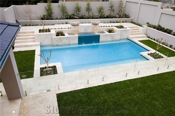 Limestone pool pavers pool deck pool coping beige for Best pavers for pool deck