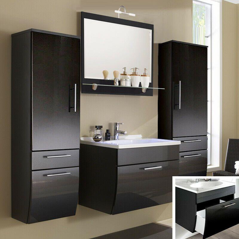 Komplett Badezimmer Badmobel Set Waschtisch M Softclose Led Spiegel Hochschranke In 2021 Badezimmer Komplett Waschtisch Badmobel Set