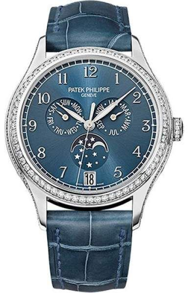 4cafe9fd971 Patek Philippe 18K White Gold   Leather Automatic 38mm Womens Watch ...