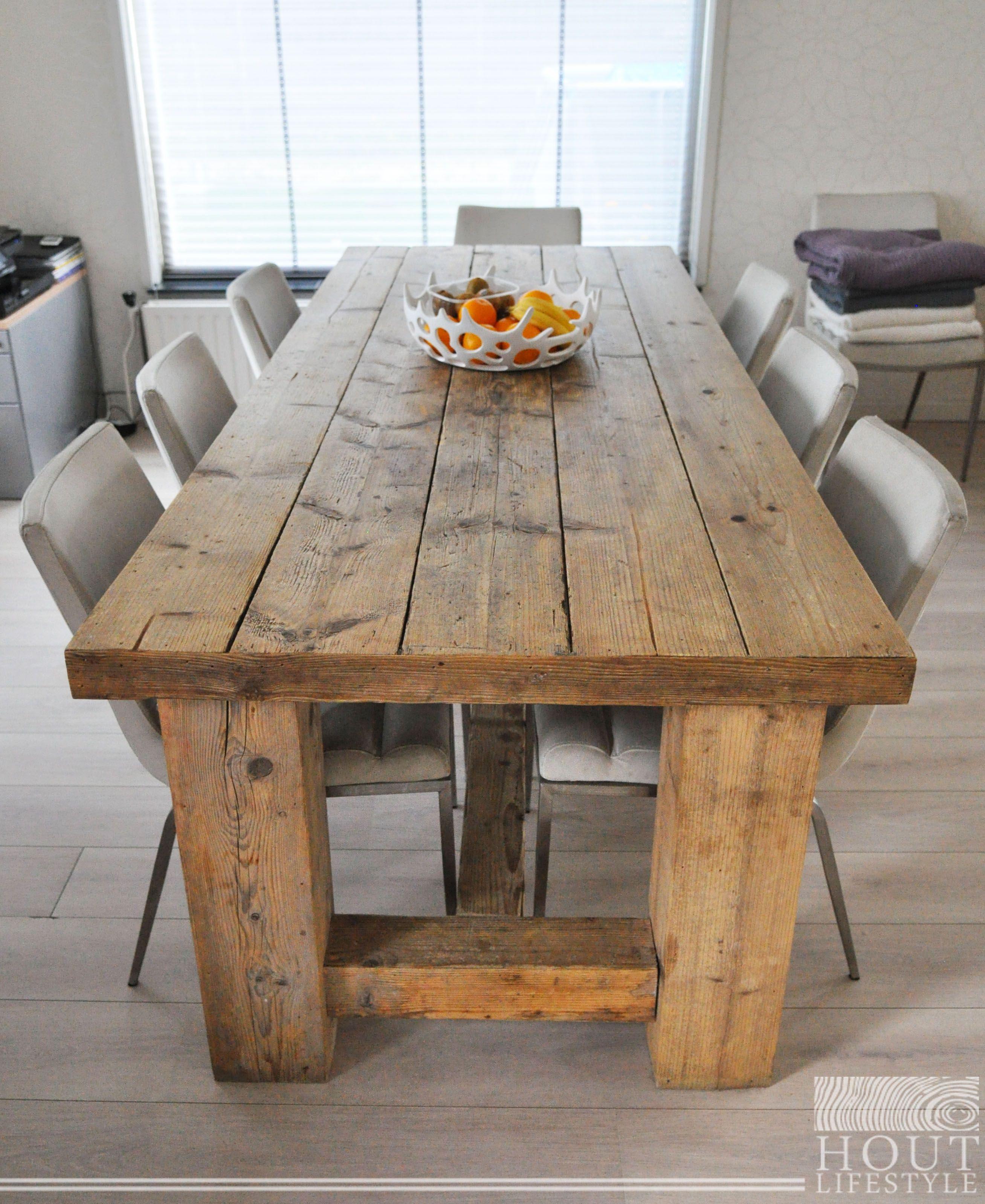 Eettafel Voor Binnen En Buiten.Robuuste Steigerhouten Eettafel Voor Binnen Buiten