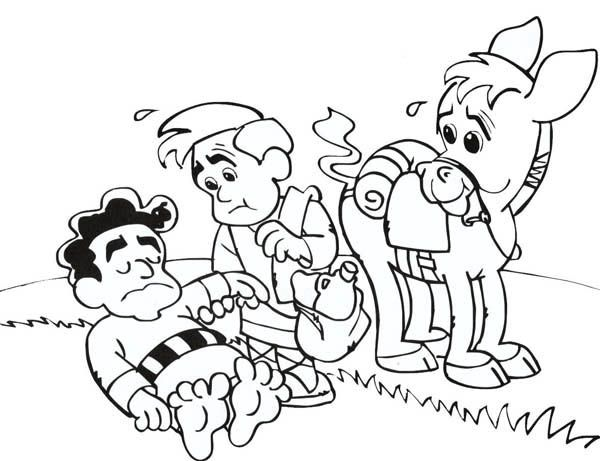Cartoon Of Good Samaritan Story Coloring Page Netart Coloring