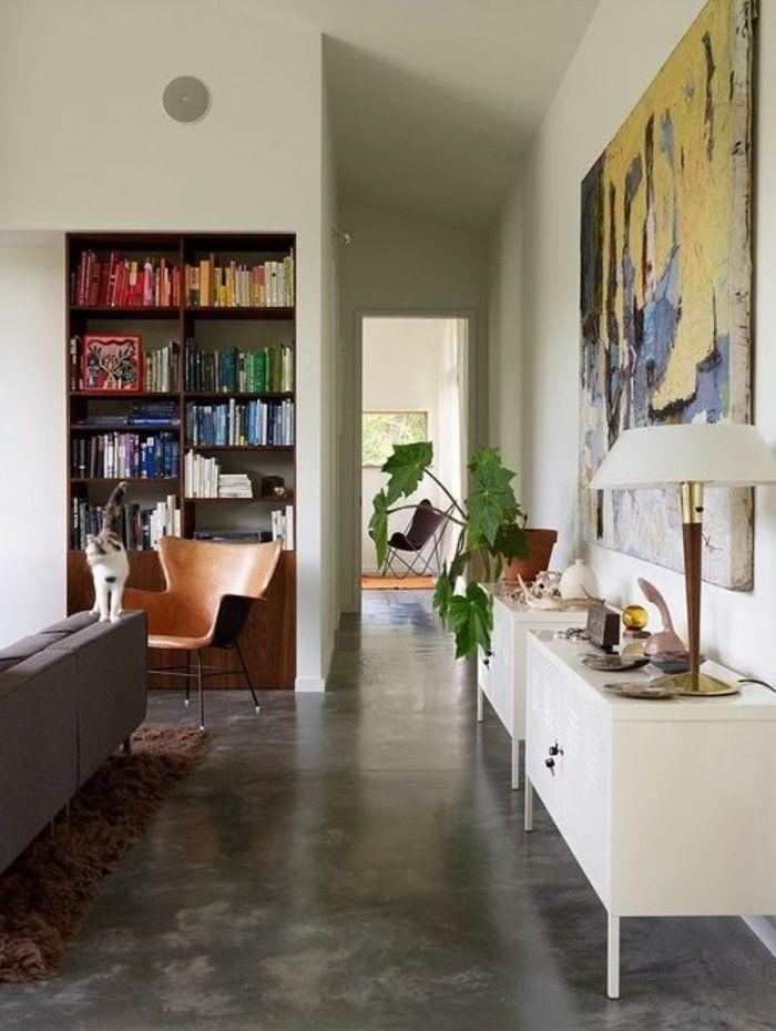 Découvrir le sol en béton ciré dans beaucoup de photos! Salons - peinture beton cire mur