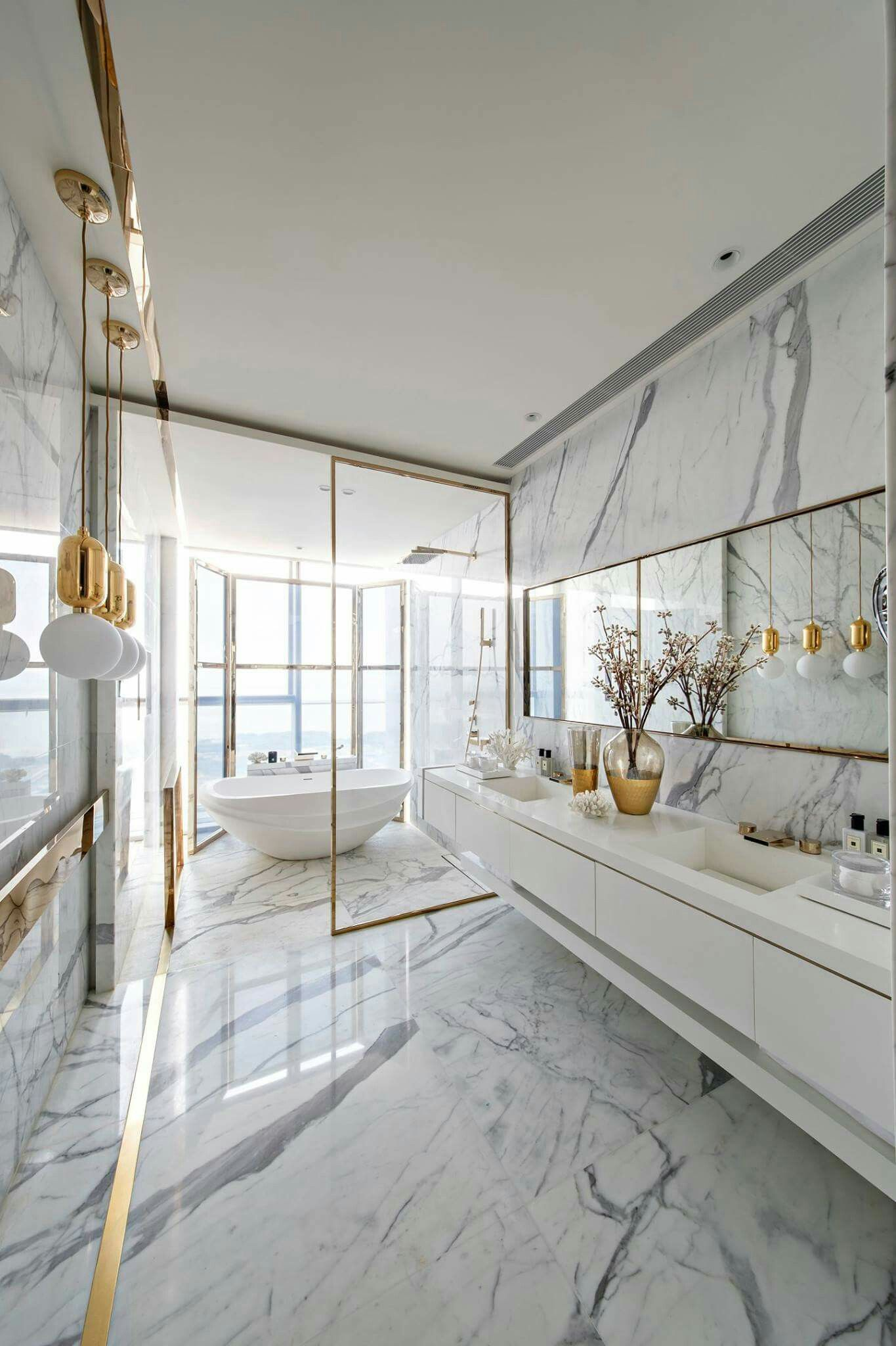 Marble And Gold Bathroominspiration Bathroominteriordesign Interiors In 2020 Contemporary Home Decor Bathroom Interior Design Modern Interior Design