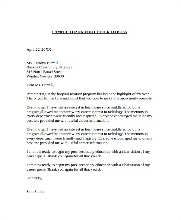 sample thank you letter boss free documents download word for - sample thank you letter format