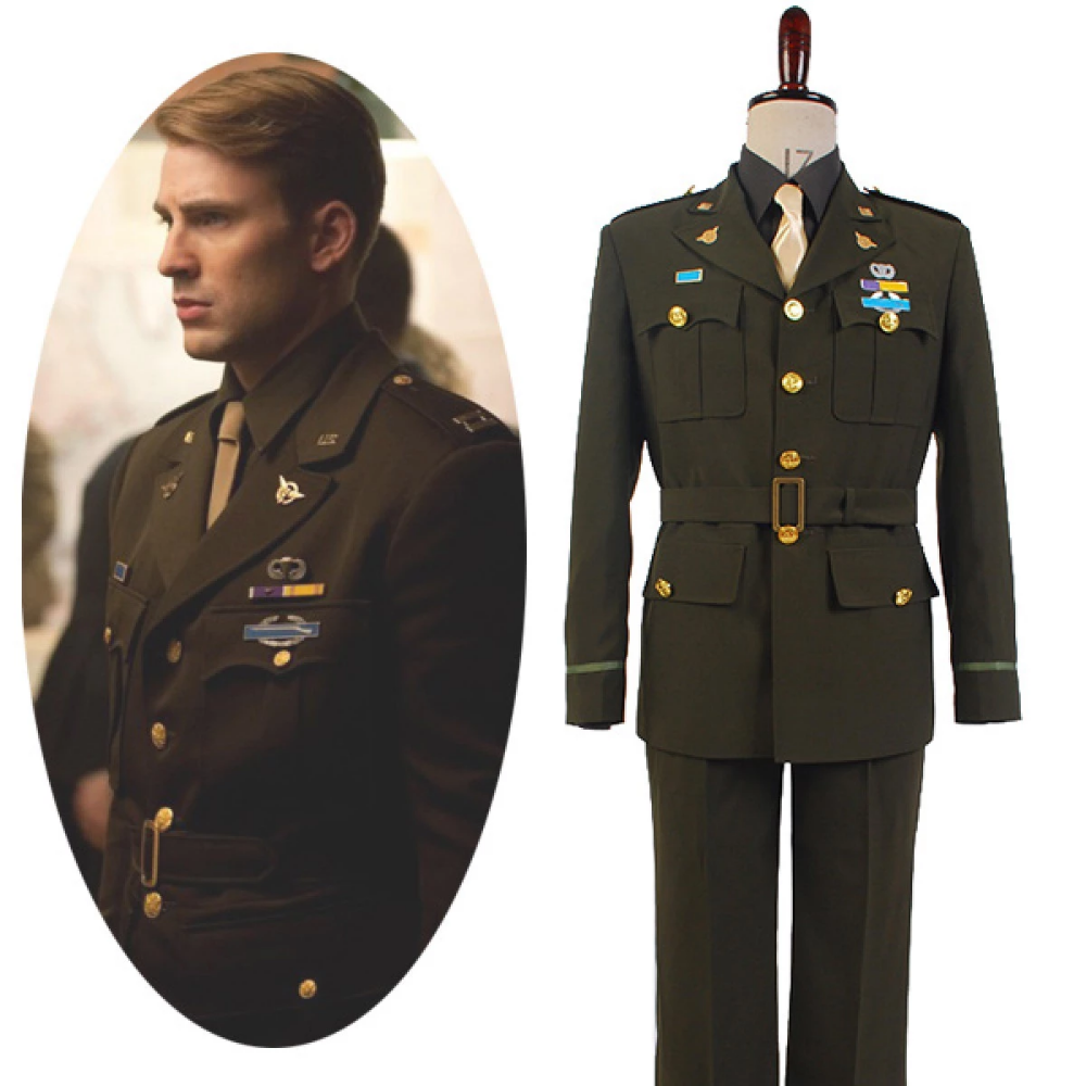 Captain America Steve Rogers WWII Army SSR Uniform cosplay Costume custom made