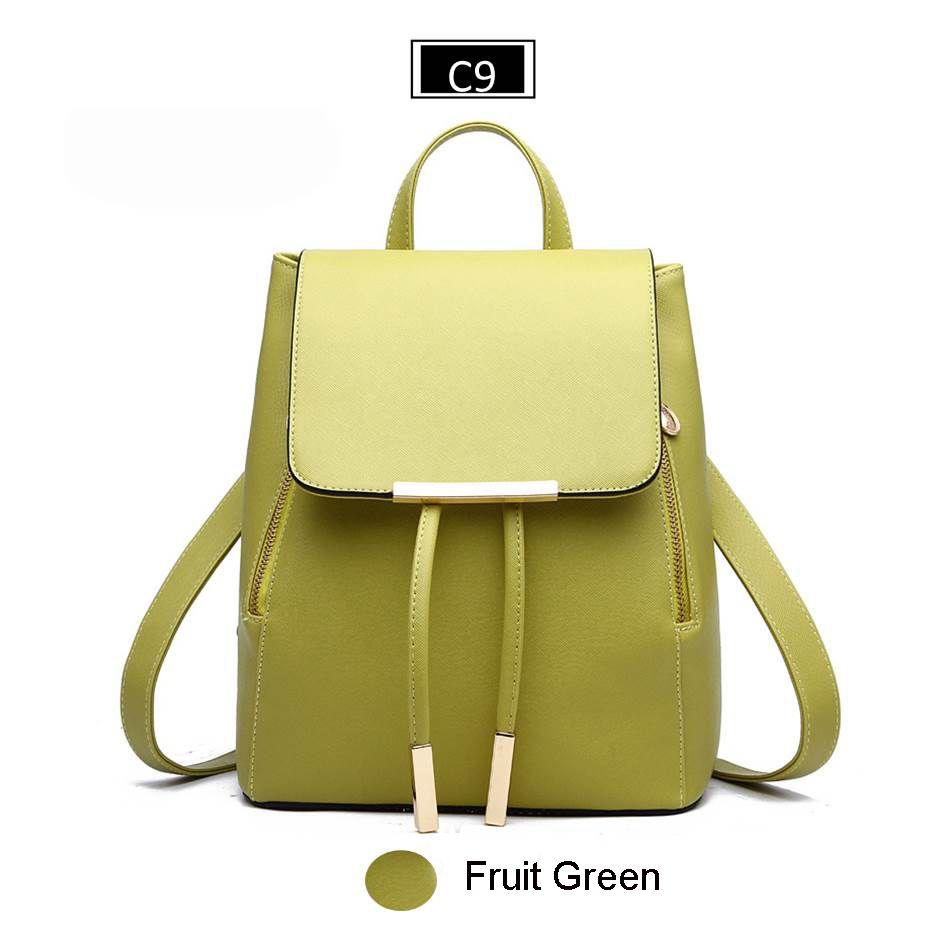 Leather Small Women Backpacks Zipper Shoulder Bag Female Phone Bags Lady Portable Backpack,Green,China