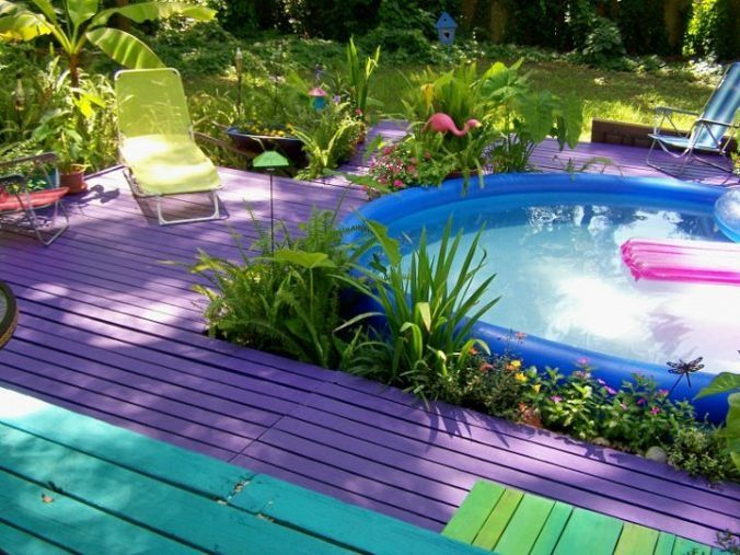 Love The Idea Of Bright Colors On The Decks Of The Beach House What Better Place And The Blow Up Pool From Pool Landscaping Easy Set Pools Yard Design