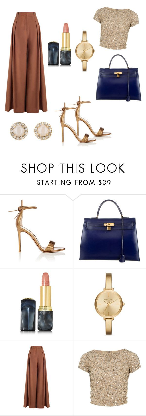 """""""Elegant evening Look"""" by hanakalesic ❤ liked on Polyvore featuring Gianvito Rossi, Hermès, Oribe, Michael Kors, Zimmermann, Alice + Olivia and Kate Spade"""