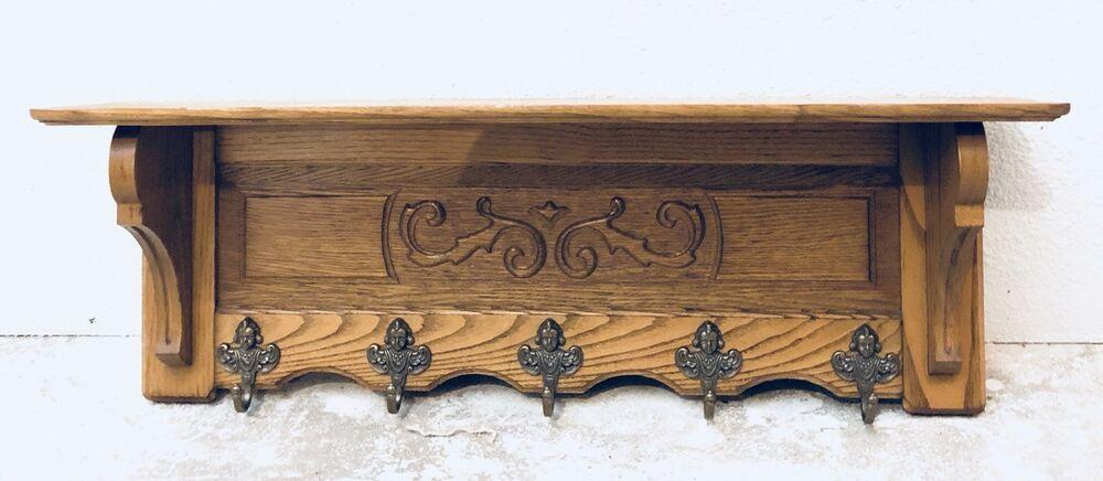 Details About Vintage French Oak Carved Hanging Rack Kitchen Rack