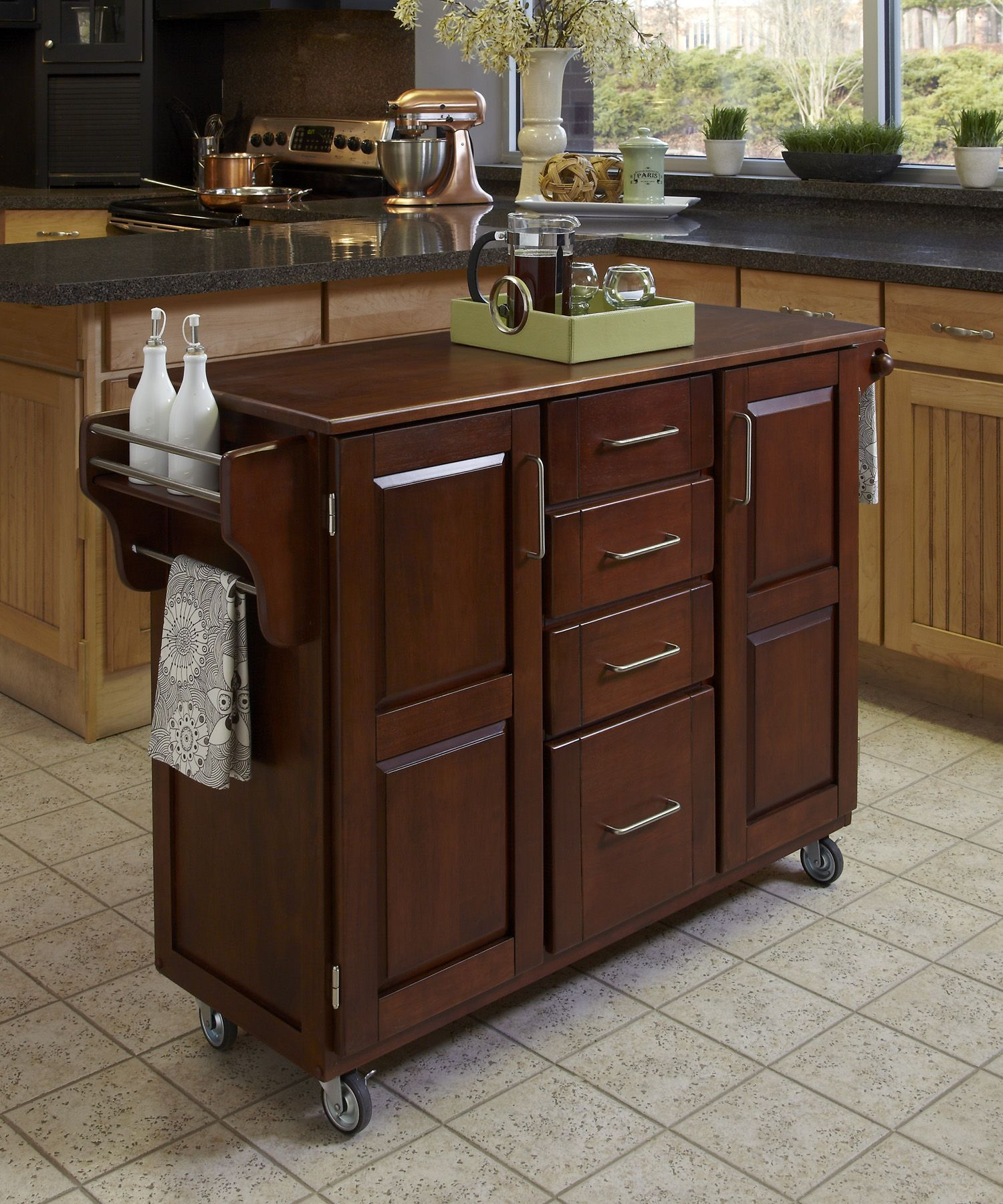 home styles create a cart cherry finish with oak top beige tan