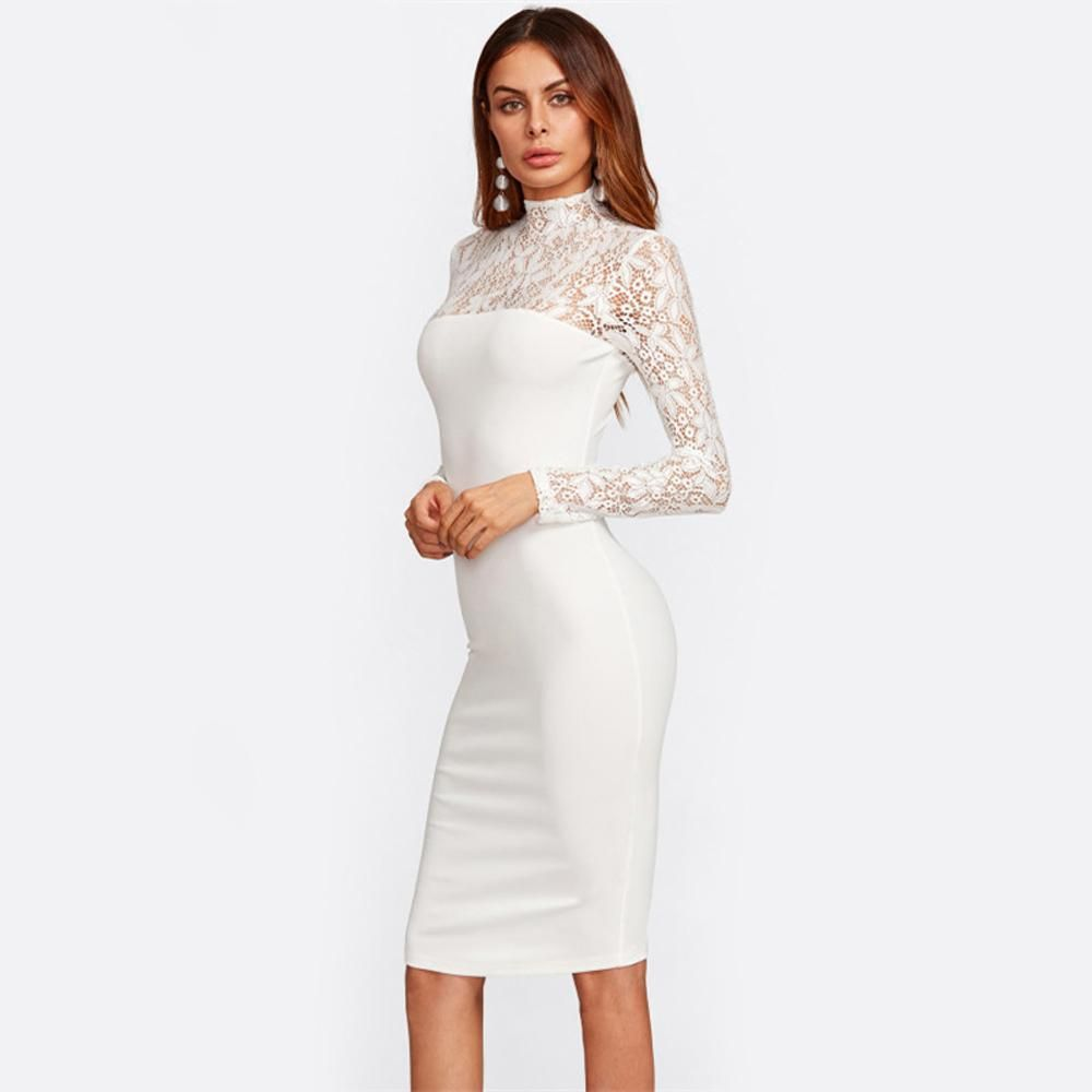 Chanel Elegant Turtle Neck Lace White Bodycon Midi Dress Classy Dress White Midi Dress Bodycon Party Dress Classy [ 1000 x 1000 Pixel ]
