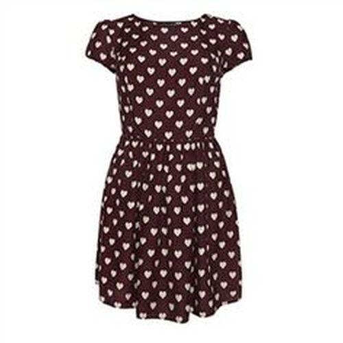 Primark Burgundy Heart Print Dress