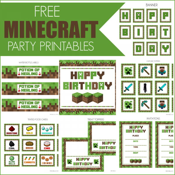 FREE Minecraft Printables Food cards Party printables and Water