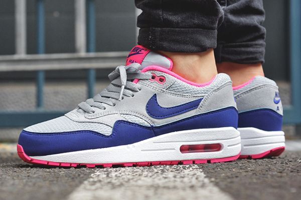 nice shoes exquisite design fast delivery Nike Air Max 1 Essential Gris/Bleu/Rose (femme) | ♥ Love ...