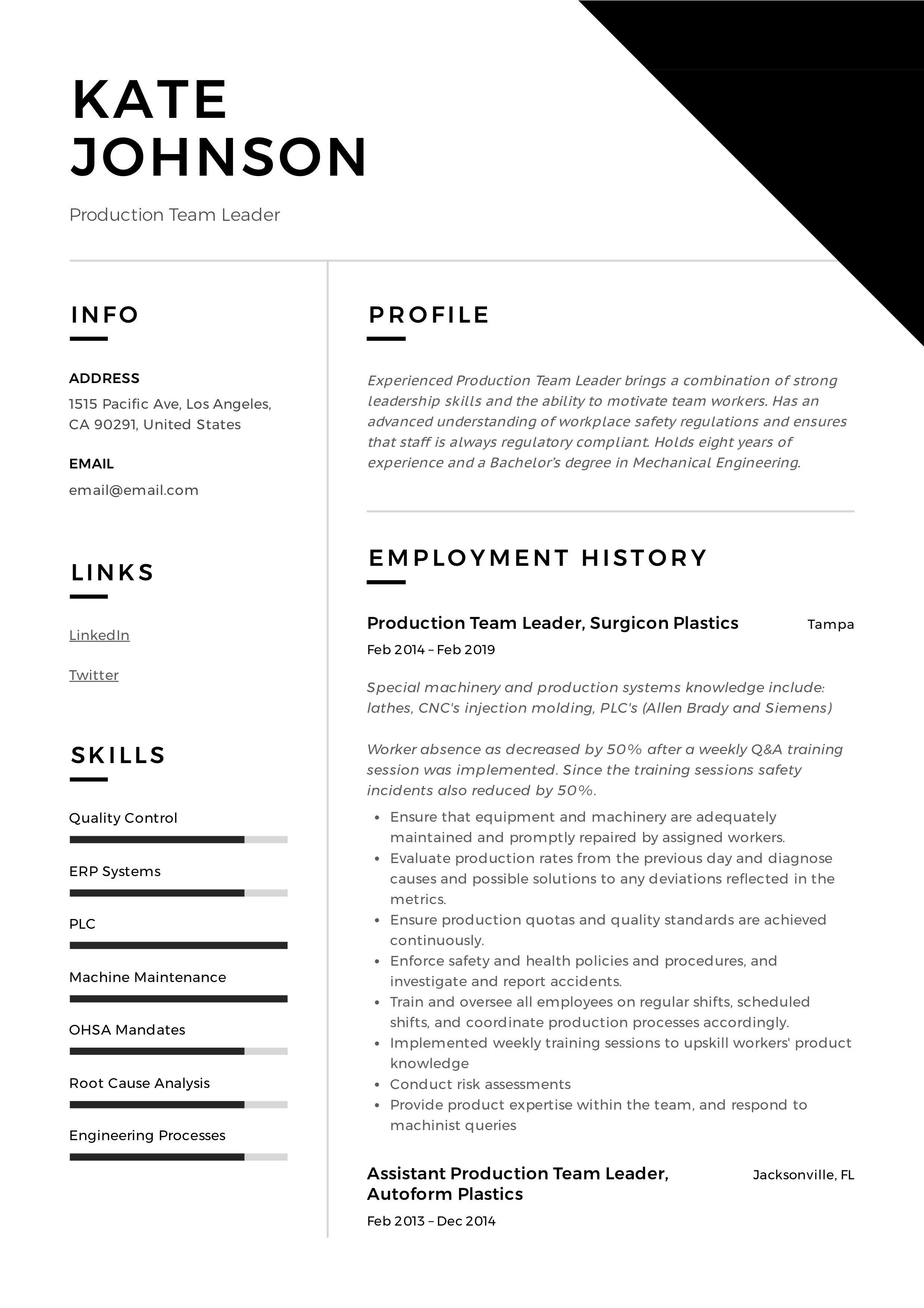 Production Team Leader Resume Template Resume Skills Good Resume Examples Resume Examples