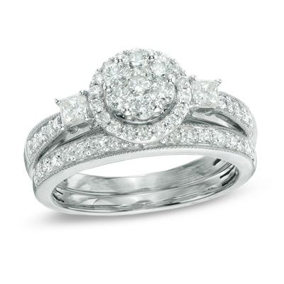 020b2a54b7079b T.W. Round and Princess-Cut Diamond Flower Bridal Set in 10K White Gold -  View All Rings - Zales