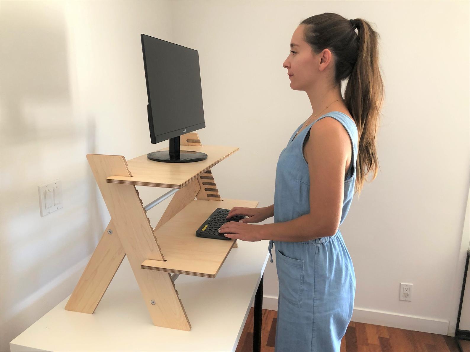 Standing Desk Converter Sit To Stand Desk Etsy Standing Desk Converter Diy Standing Desk Standing Desk