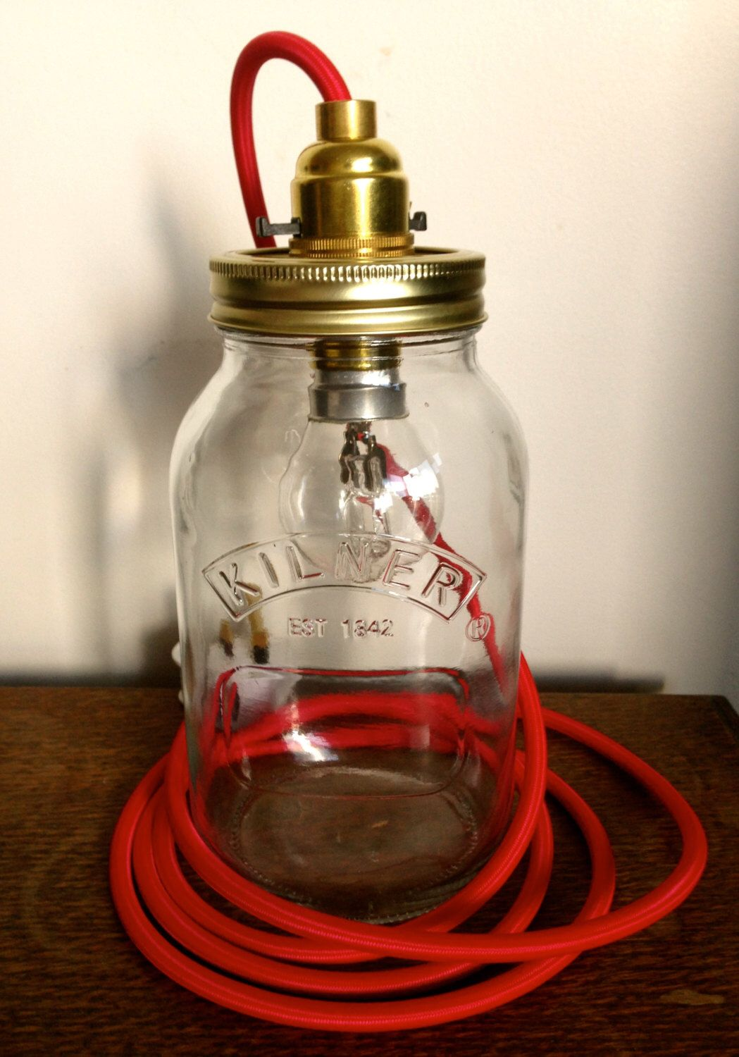 Kilner mason jar lamp with red cable (free UK postage!) by CityLightsLamps on Etsy https://www.etsy.com/listing/206778011/kilner-mason-jar-lamp-with-red-cable