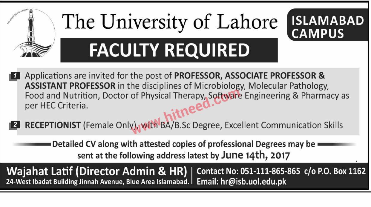 The University Of Lahore Islamabad Campus Faculty Jobs June