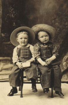 Vintage photo of two little cowboy's