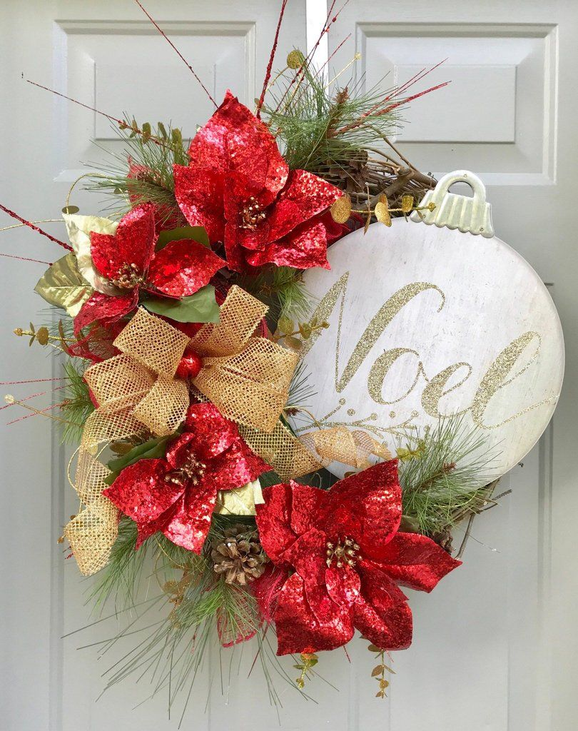 Noel Wreath Poinsettia Wreath Christmas Wreath Grapevine Wreath Christmas Wreaths Christmas Ornament Wreath Holiday Wreaths