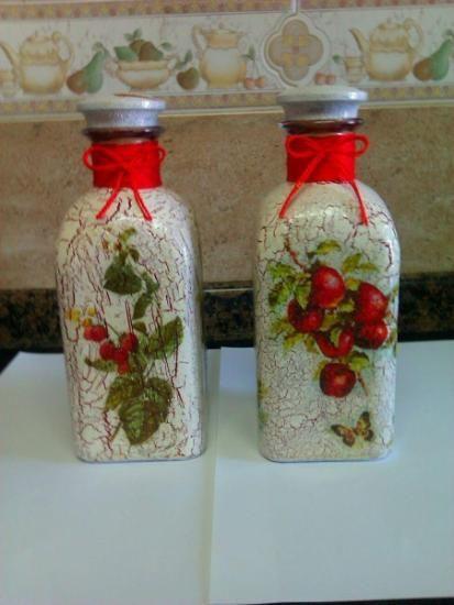 Botellas decoradas pintura barniz servilleta decoupage frascos pinterest botellas - Botellas decoradas manualidades ...