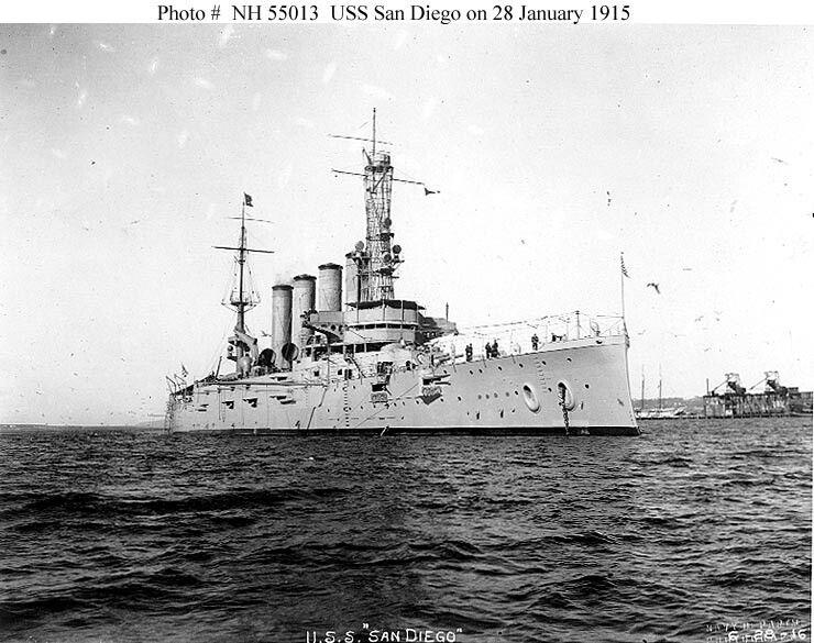 USS San Diego, armoured cruiser, lost 19 July 1918