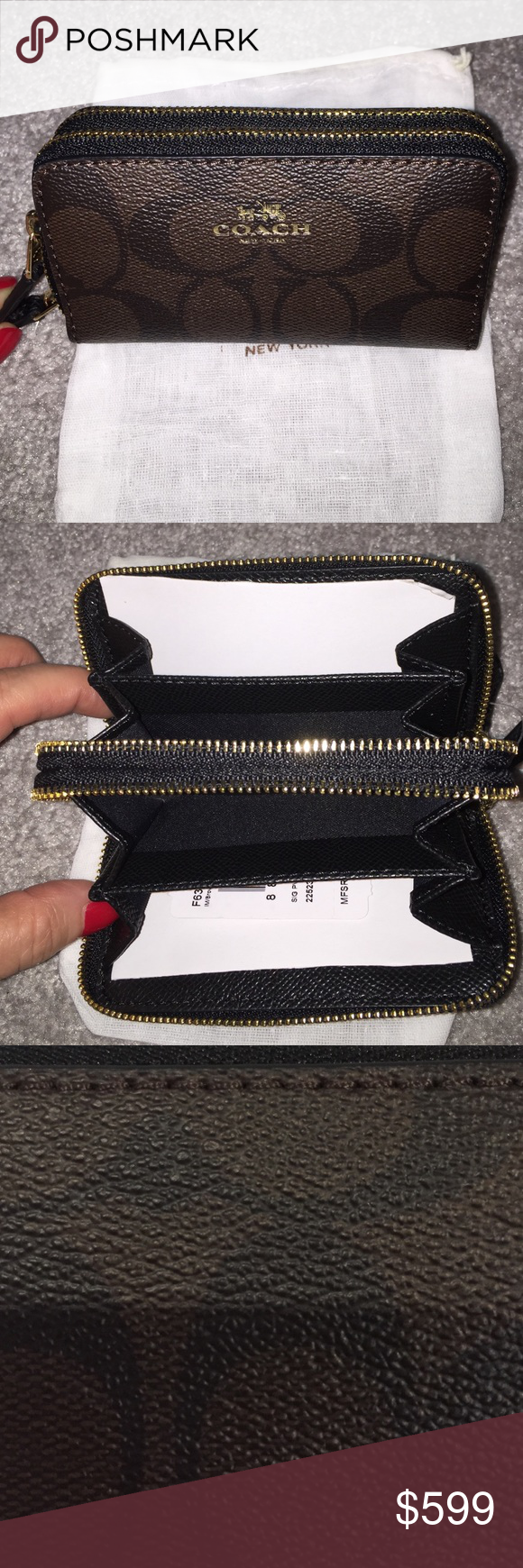 COACH Signature Double Zip Coin Case/Card Wallet COACH Signature PVC Small Double Zip Coin Case/Card Wallet NWT   NO TRADES. Retail $95 plus tax.   Size is a little over 4 1/2 by approx 2.5 Coach Accessories Key & Card Holders