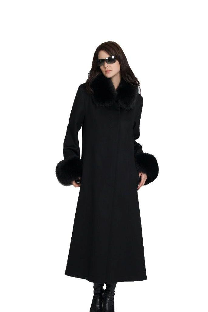 Mink Coats | Long Black Wool Coat with Fur Trim ...