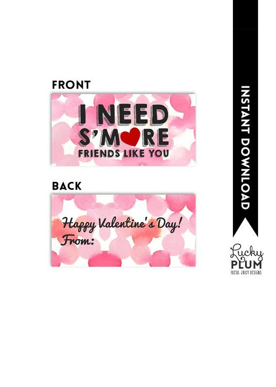 Smore Valentine Printable Tag / Valentine Printable Tag / I Need S