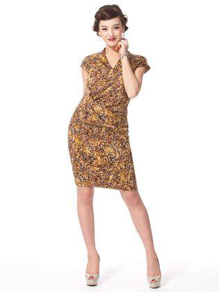 INTERPLANET - print V-neck French sleeve dress