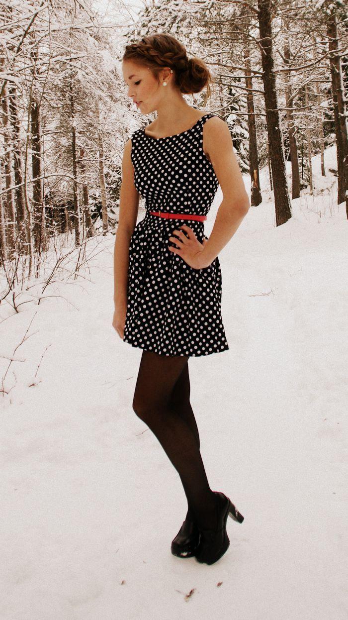 b92288f487ba closet - black tights, black heels invest - black and white polka dot dress,  red belt >>LOVE