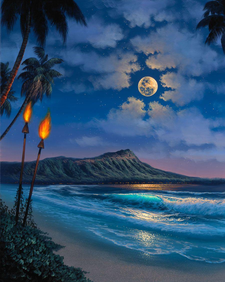 Hawaii Romantic Pictures Walfrido Hawaii Paintings At Ocean Treasures Swdreamhawaii Hawaii Painting Hawaiian Painting Hawaii Art
