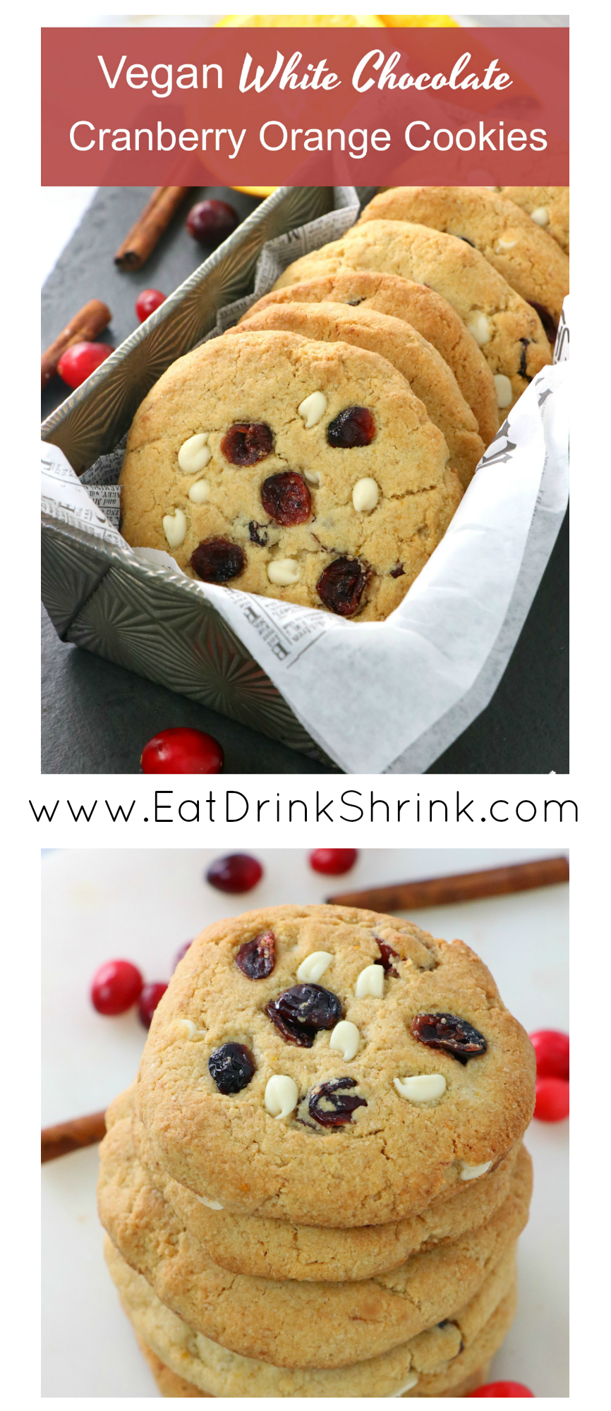Vegan White Chocolate Cranberry Orange Almond Flour Cookies