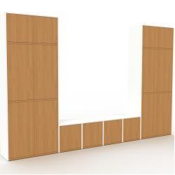 Photo of Wohnwand Weiß – Individuelle Designer-Regalwand: Türen in Eiche – Hochwertige Materialien – 306 x 19