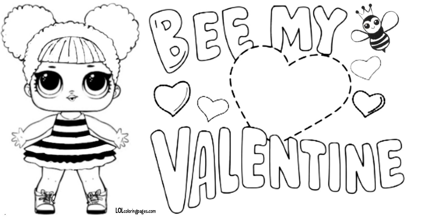 Queen Bee Lol Doll Valentine Coloring Page Valentine Coloring Pages Valentine Coloring Bee Valentine