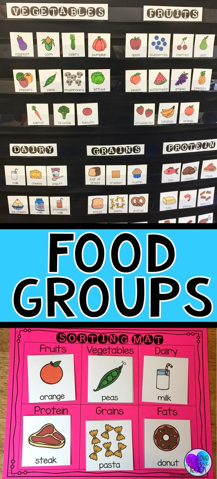 Food Groups Sorting and Searching Activities #kidsnutrition