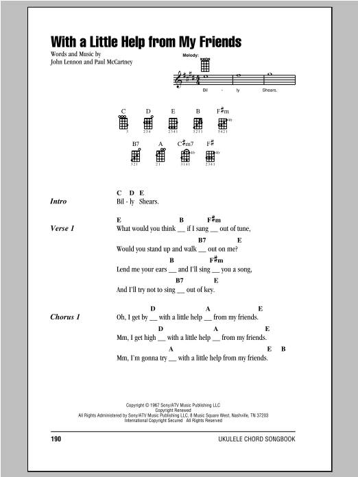 The Beatles With A Little Help From My Friends Sheet Music Piano