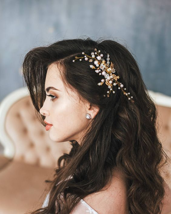 Bridal Headpiece, Gold Flower Hair Comb, Gold Leaf Headpiece, Flower Headpiece, Crystal and Pearl Wedding Hairpiece, Rose Wedding hair comb