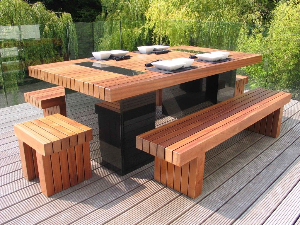big tennon garden furniture collection solid sapele and black granite table