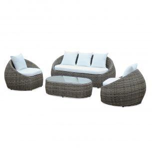 Ritardo: Designer round rattan 4-seater garden sofa set with ...