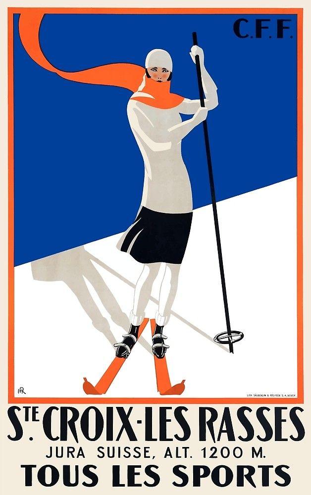 1922 Sainte Croix Switzerland Ski Travel Poster By Retrographics Ski Poster Vintage Ski Ski Art Saint Travel Posters Vintage Travel Posters