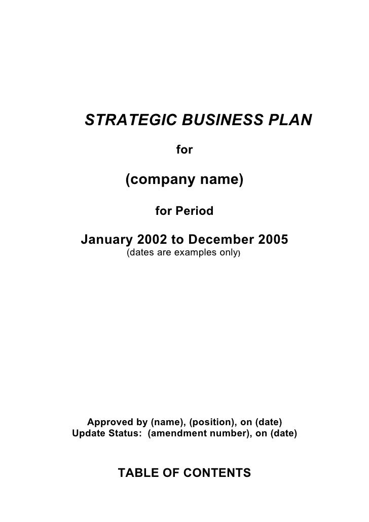 STRATEGIC BUSINESS PLAN for (company name) for Period January 2002 - company plan template