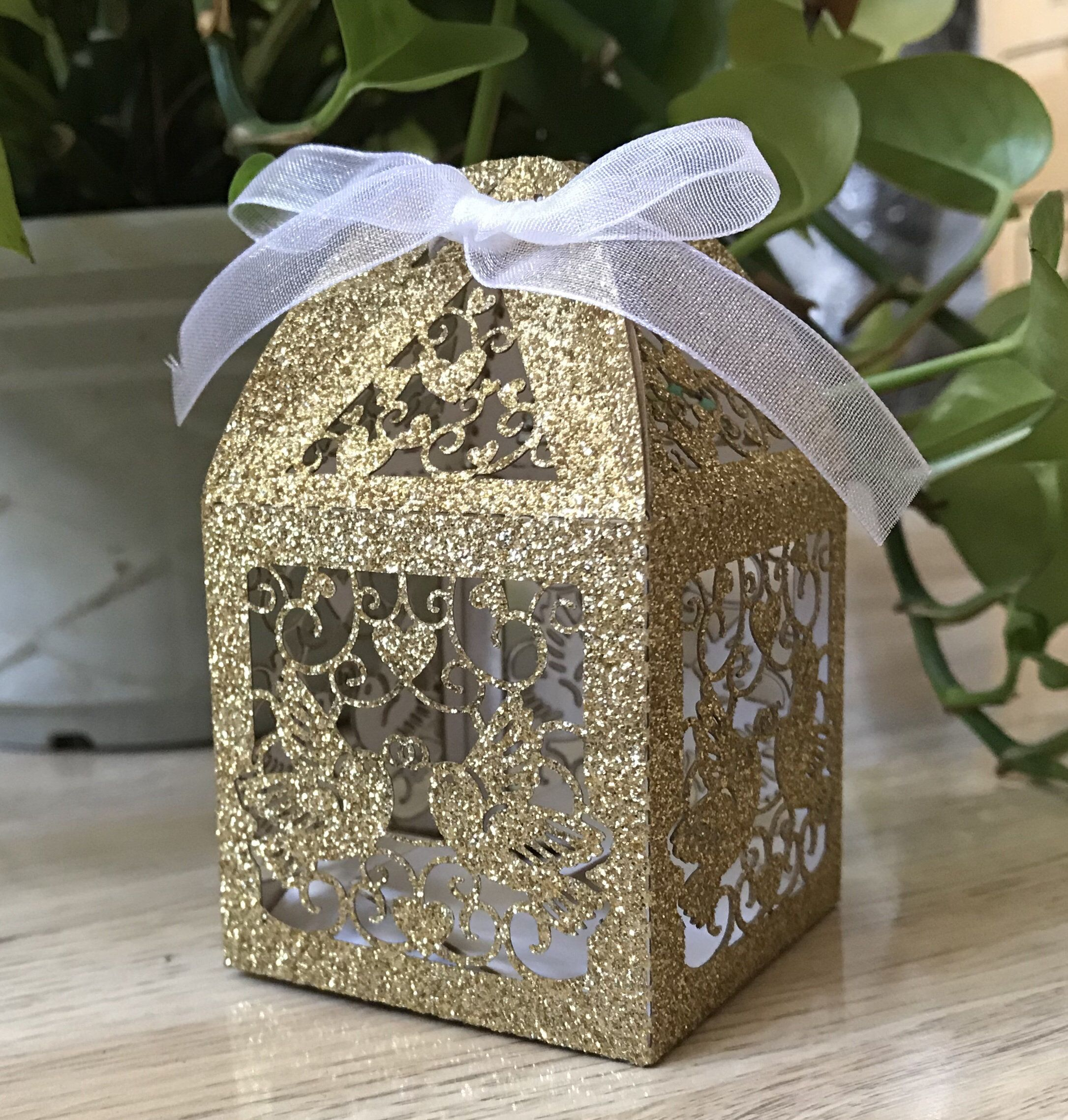 100pcs Glitter Gold Wedding Bonbonniere,Wedding favor box with ribbon,Personalized Wedding favors,candy boxes for guests,Laser Cut Gift Box #personalizedweddingfavors