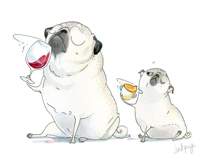 Pug Art Print  5x7 8x10 8.5x11  Wine and Pugs Wine by InkPug, $10.00
