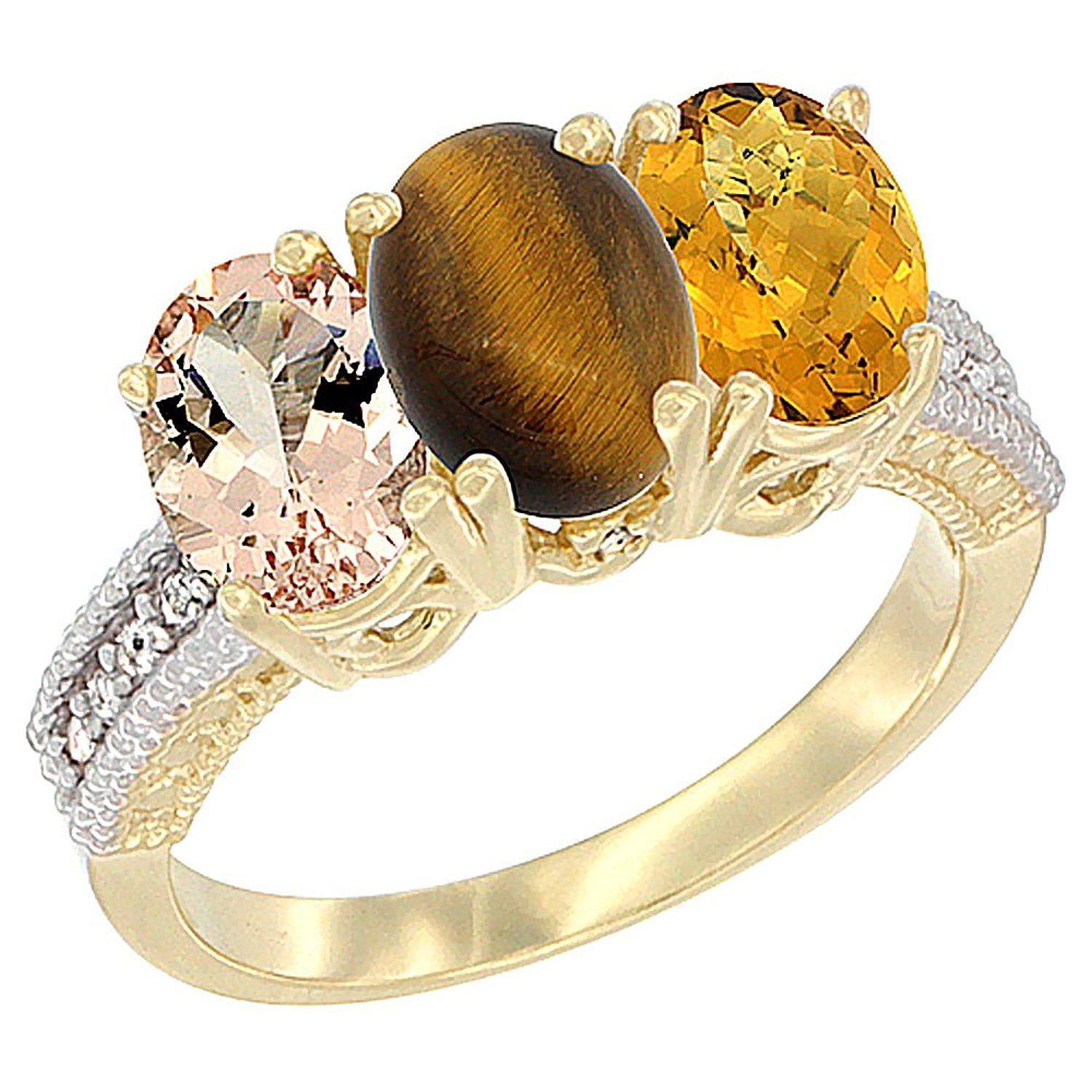 14K Yellow Gold Natural Morganite, Tiger Eye and Whisky Quartz Ring 3-Stone Oval 7x5 mm, sizes 5 - 10 ** Special  product just for you. See it now! : Ring Bands