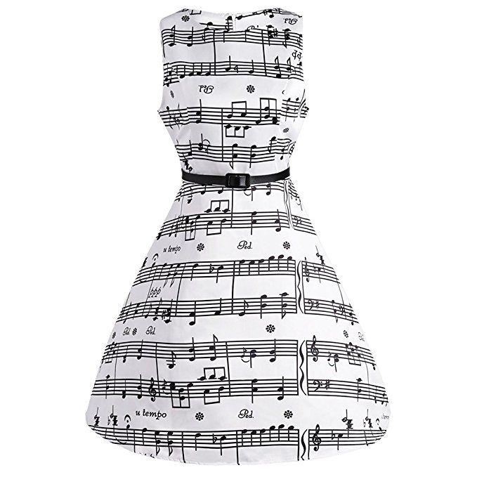f17230b784b CharMma Women s Vintage 1950 Audrey Hepburn Music Note Print Swing Party  Dress at Amazon Women s Clothing store