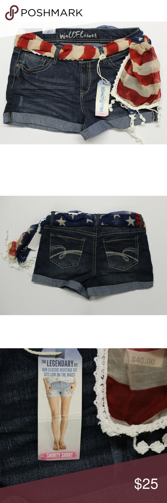Women/'s Juniors Wallflower Americana Distressed Rolled Jean Shorts Blue Buffalo