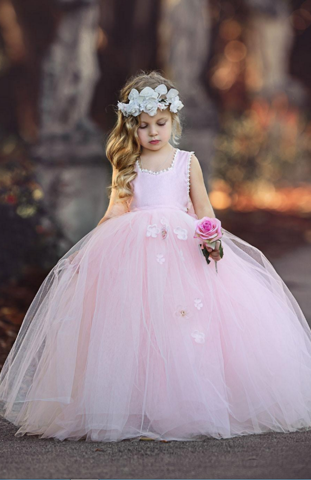 57a38cbcf9e0 Princess Pink Sleeveless Ball Gown Tulle Flower Girl Dresses , New ...